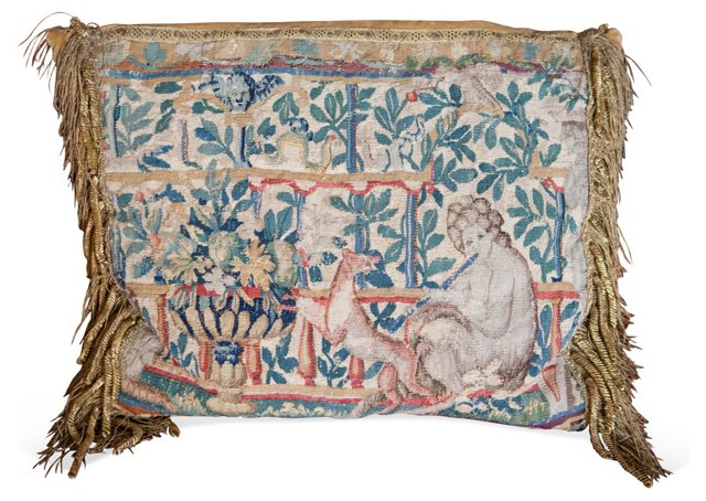16th-C. Tapestry Fragment Pillow