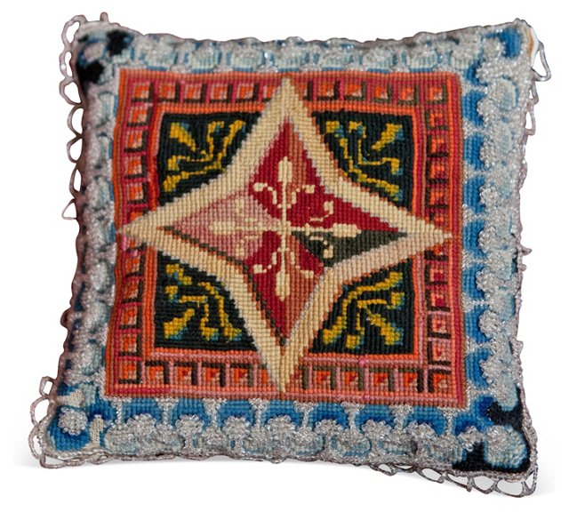 19th-C. Victorian Beaded Pillow