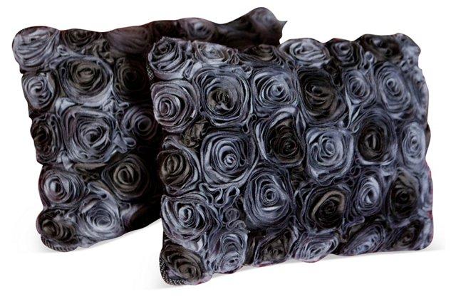 Gray Roses Pillows, Pair
