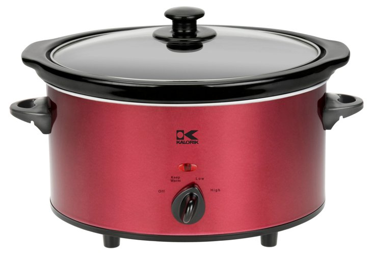 3.7 Qt Oval Slow Cooker, Red