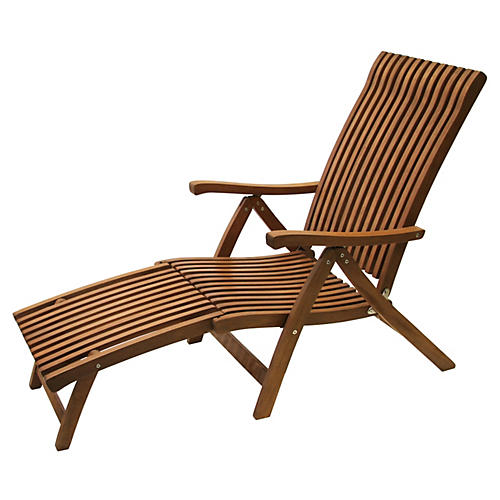 Adjustable Outdoor Eucalyptus Chaise