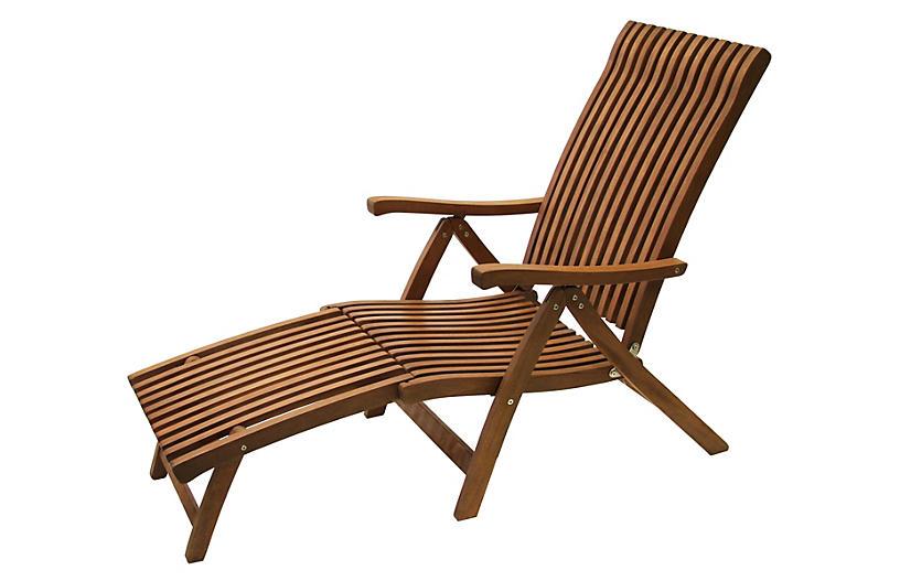 Adjustable Outdoor Eucalyptus Chaise