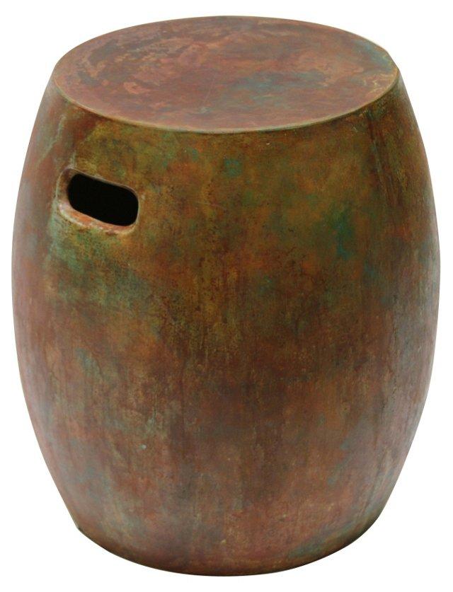 Concrete Stool, Rustic Red