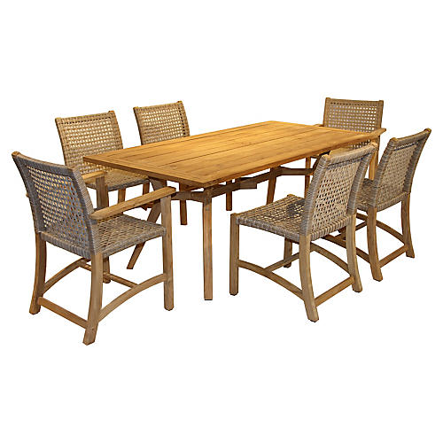 7-Pc Nautical Teak Dining Set, Natural