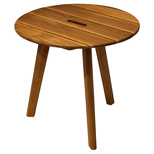 Round Teak Side Table, Natural