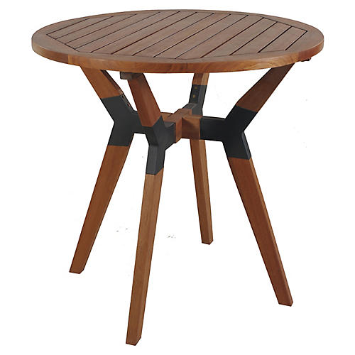 Slat Outdoor Bistro Table, Brown