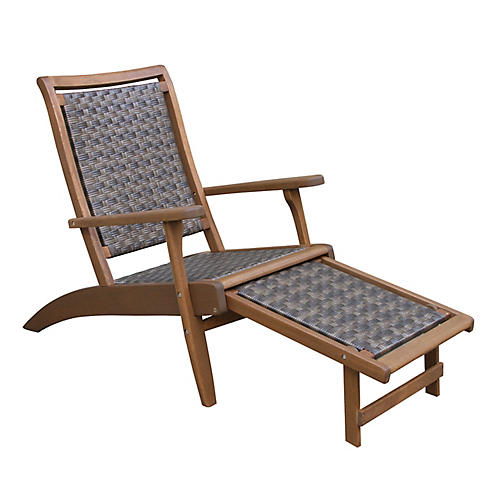 Wicker & Eucalyptus Chaise, Caramel