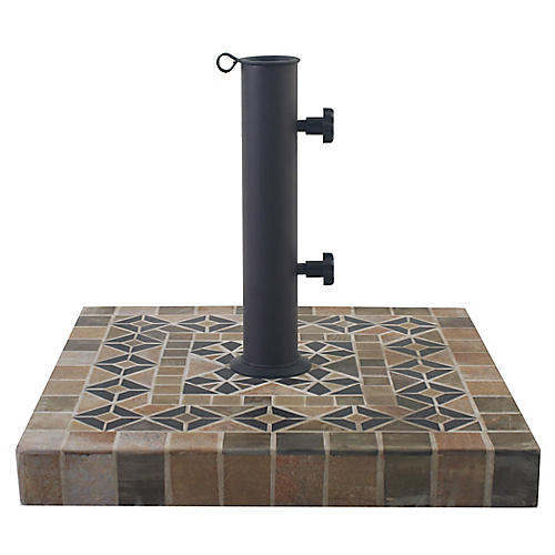 Mosaic Square Umbrella Base, Beige/Multi