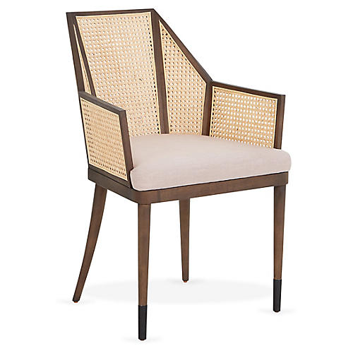 Cane Armchair, Lilac/Natural