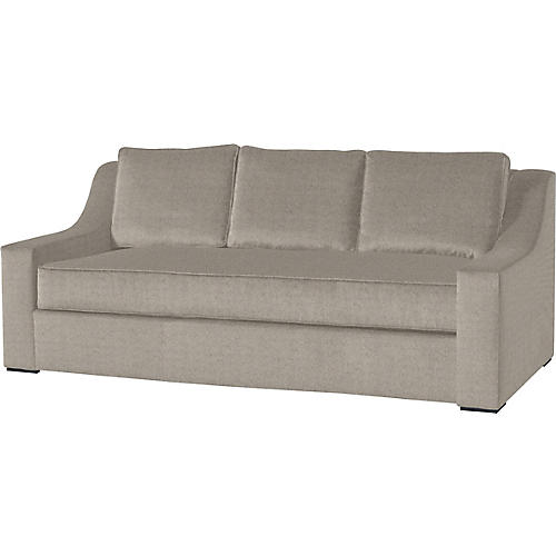 "Lax 84"" Linen Sofa, Light Gray"