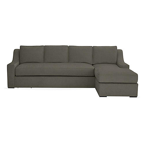 "Studio 114"" Sectional w/Movable Ottoman, Smoke Ash"