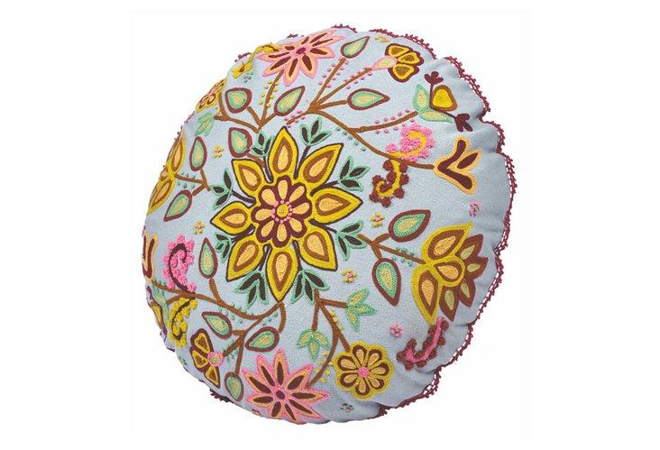 "Floral 16"" Round Pillow, Light Blue"