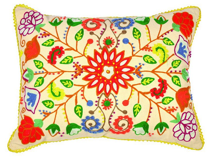 Floral 14x18 Embroidered Pillow, Ivory