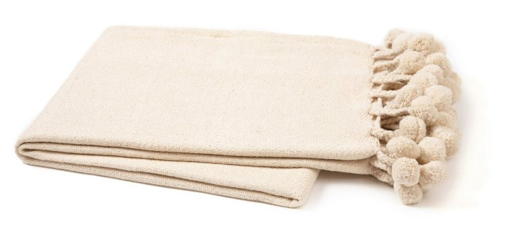 Pom-Pom Cotton Throw, Cream
