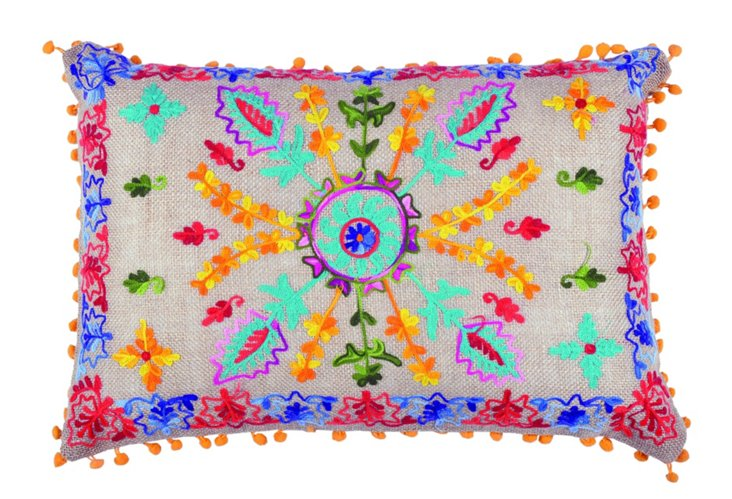 Pom-Pom 14x20 Embroidered Pillow, Multi