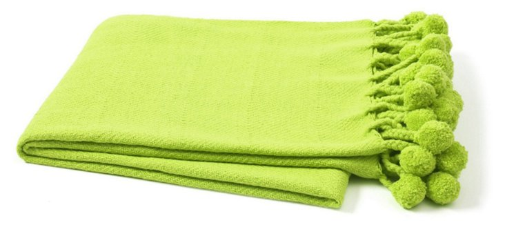 Pom-Pom Cotton Throw, Celery