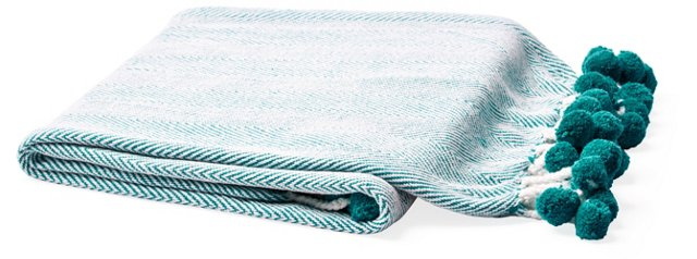 Pom-Pom Cotton Throw, Turquoise