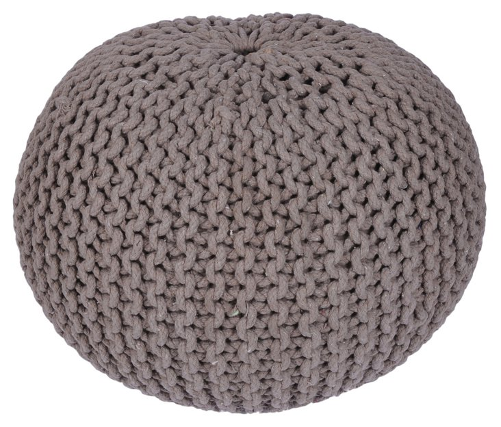 Issey Knitted Pouf, Mushroom