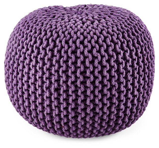 Issey Knitted Pouf, Purple