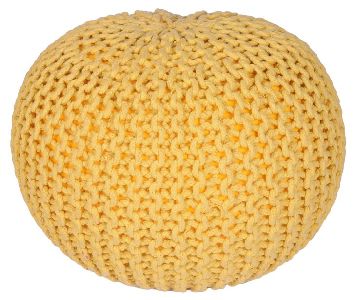Issey Knitted Pouf, Yellow