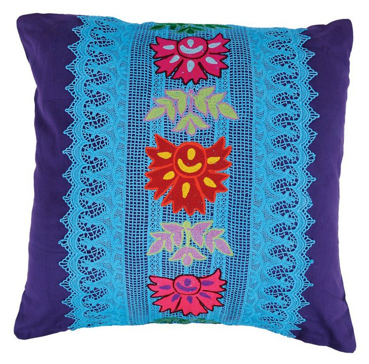 Lace 20x20 Embroidery Pillow, Multi