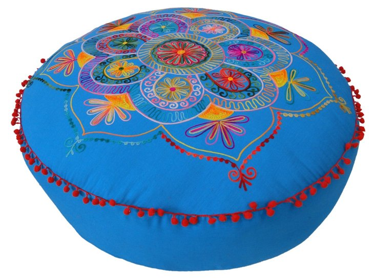 """Lee 30"""" Embroidered Cushion, Blue"""