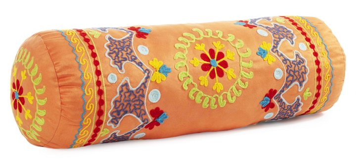 Botanical 20x6 Bolster Pillow, Orange