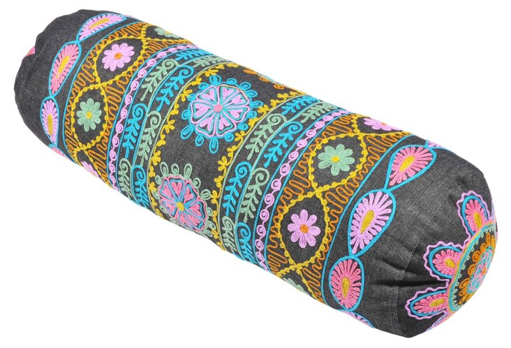 Botanical 20x6 Bolster Pillow, Denim