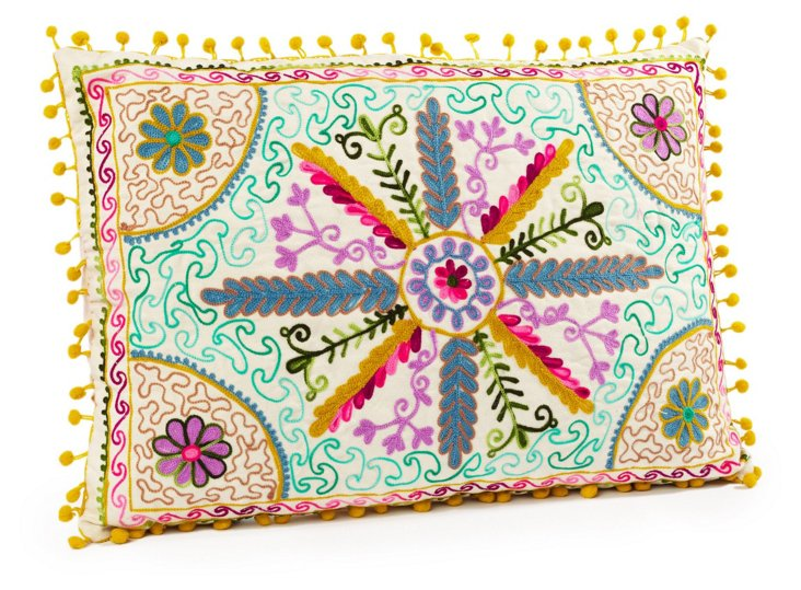 Stassi 14x20 Embroidered Pillow, Multi