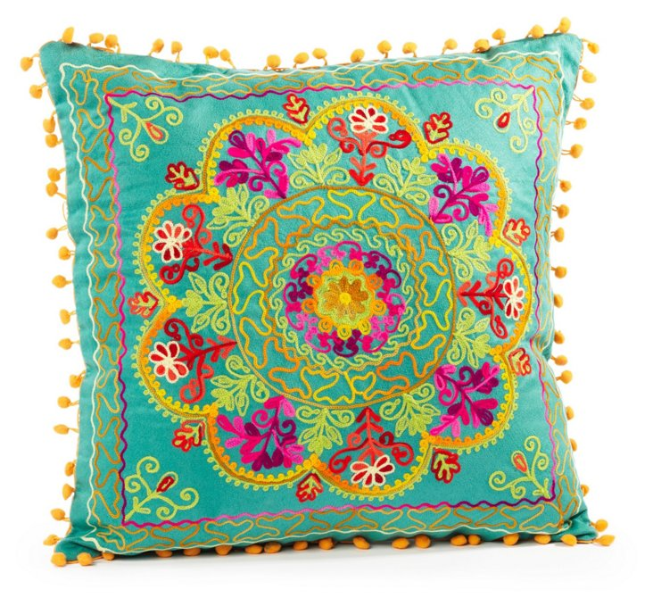 Botanical 16x16 Pillow, Teal