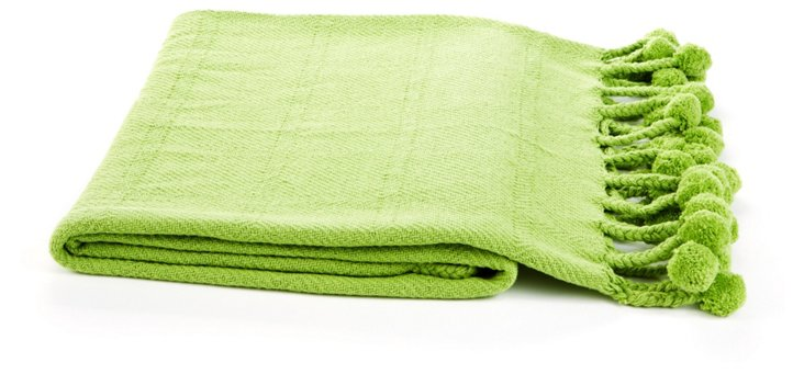 Pom-Pom Cotton Throw, Lime Green