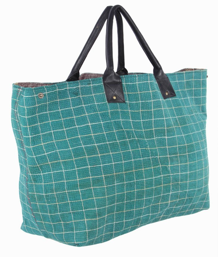 Kantha Tote  Grayscale