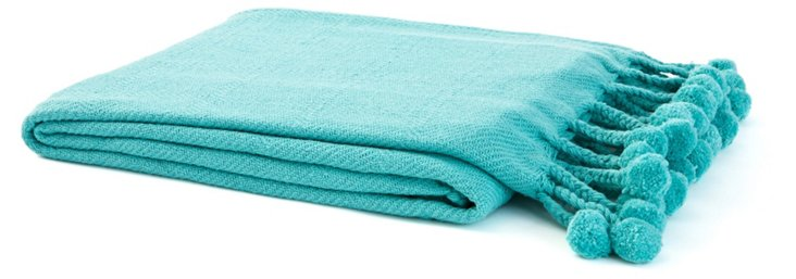 Pom-Pom Cotton Throw, Teal