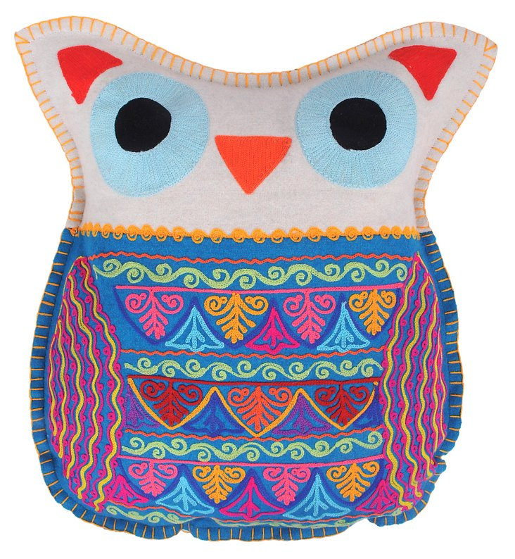 Owl 14x18 Embroidered Pillow, Gray/Blue