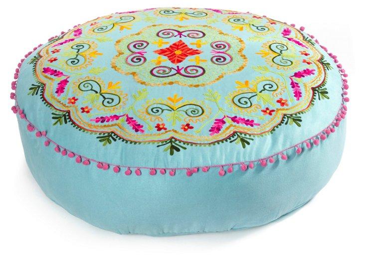 """Botanical 30"""" Embroidered Cushion, Aqua"""