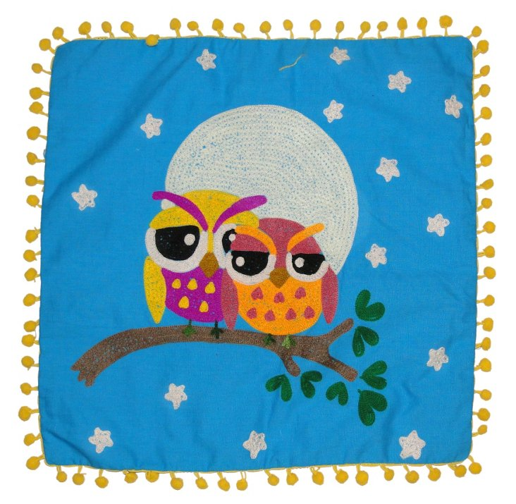 Owl 16x16 Embroidered Pillow, Blue