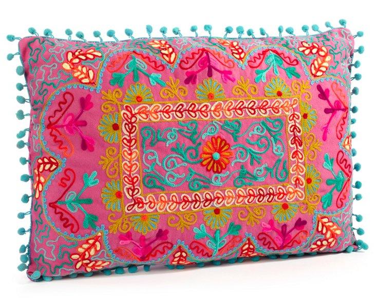 Botany 14x20 Embroidered Pillow, Fuchsia