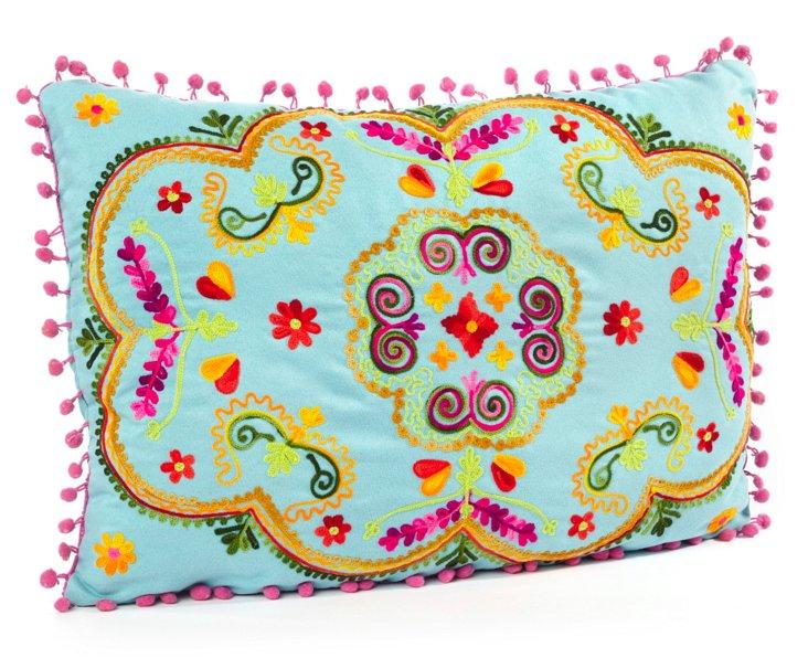 Botanical 14x20 Embroidered Pillow, Aqua