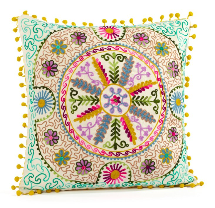 Botany 16x16 Embroidered Pillow, Multi