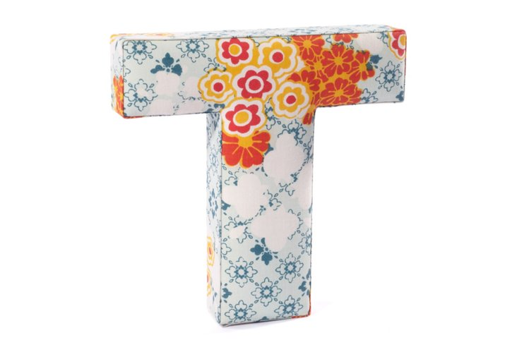 "Fabric Letter ""T"", Flower Power"