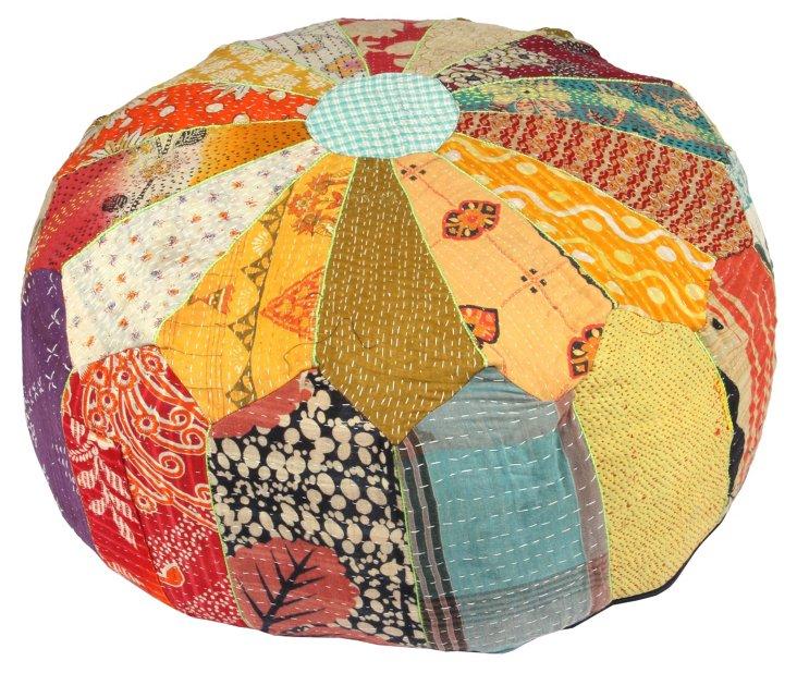 Hand-Stitched Kantha Pouf, Isla