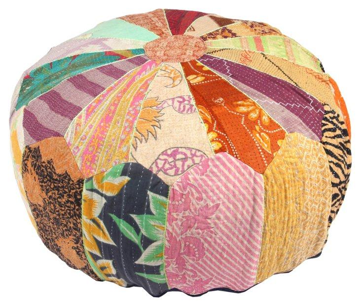 Hand-Stitched Kantha Pouf, Nardev