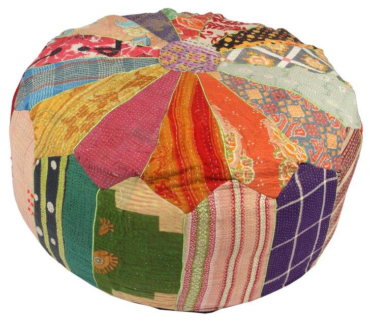 Hand-Stitched Kantha Pouf, Baleshwar