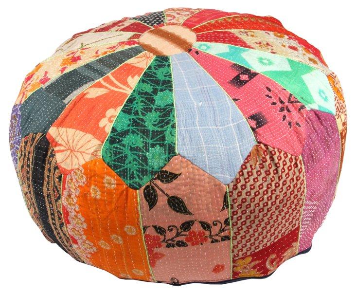 Hand-Stitched Kantha Pouf, Chandil