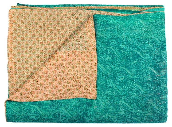 Hand-Stitched Kantha Throw, Sun