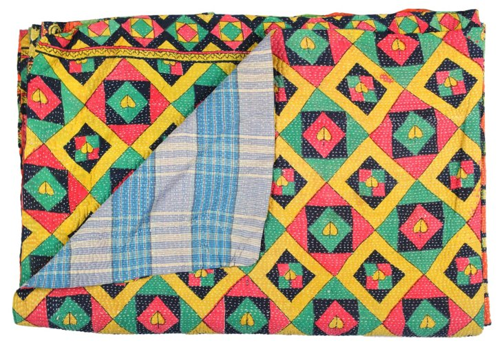 Hand-Stitched Kantha Throw, Checkered