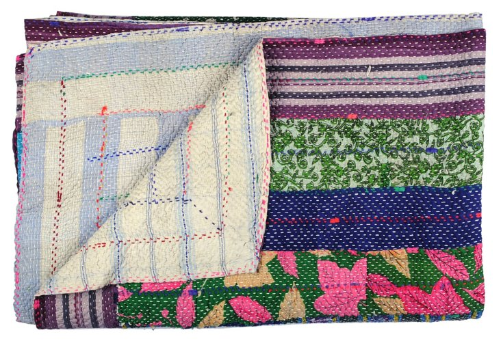 Hand-Stitched Kantha Throw, Antakya