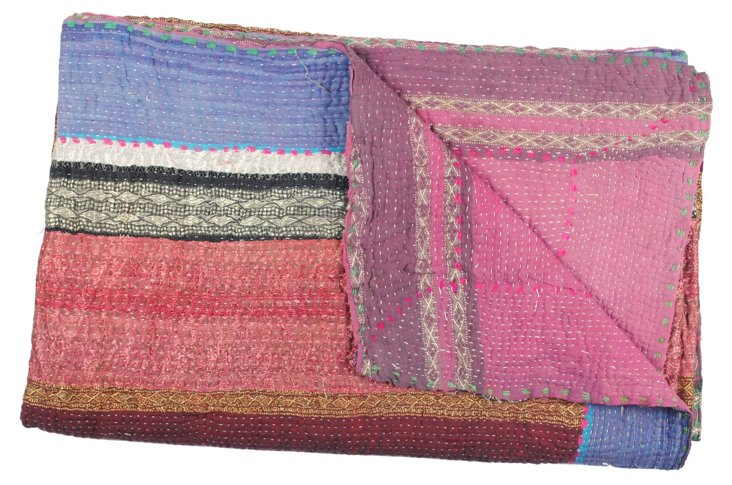 Hand-Stitched Kantha Throw, Ilias