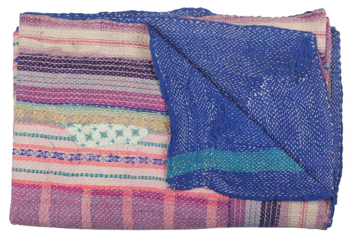 Hand-Stitched Kantha Throw, Orange