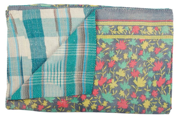 Hand-Stitched Kantha Throw, Hope